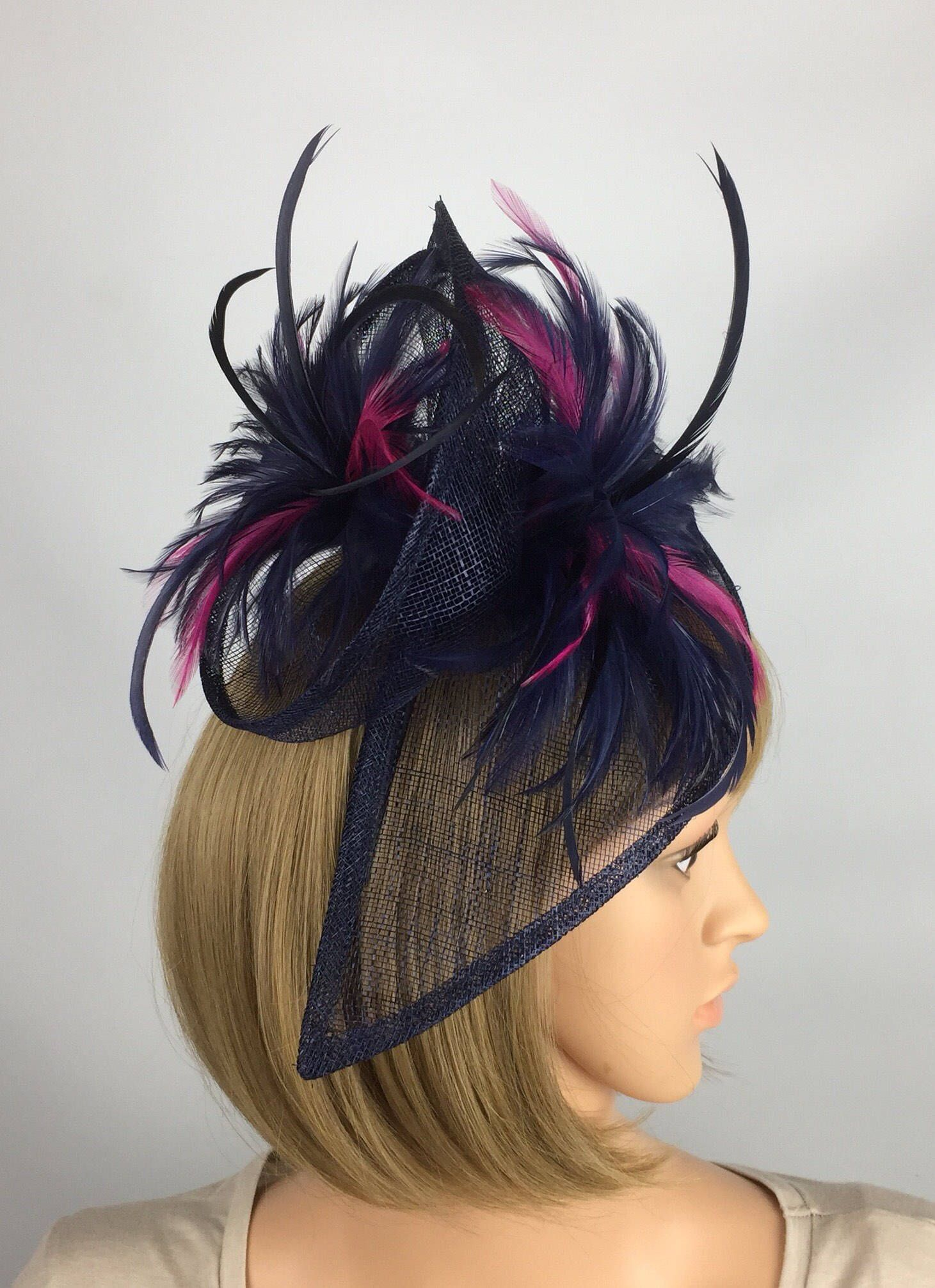 d61cc82a54f7e Excited to share the latest addition to my  etsy shop  Navy Dark Blue and  fuschia pink fascinator wedding Fascinator Hat Occasion gatinator Ascot  Ladies Day ...