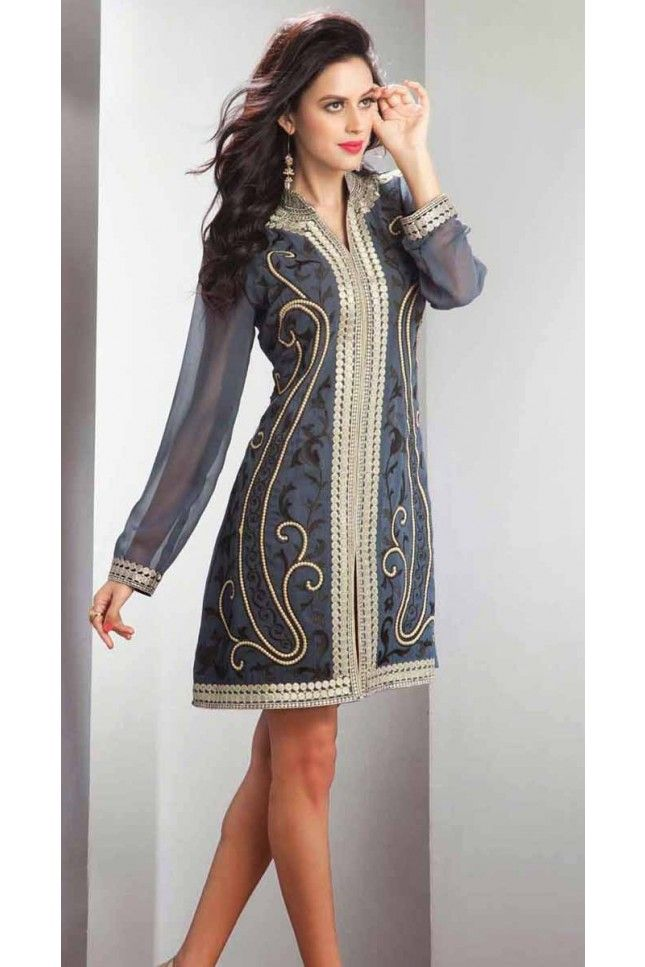 Enigmatic Gray Embroidered Readymade Kurti