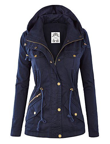 MBJ Womens Pop of Color Parka Jacket L NAVY Made By Johnny http ...
