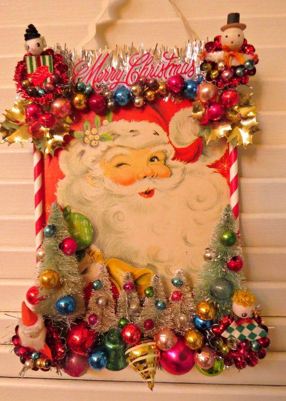 vintage fun santa claus christmas wall decoration by dimestorechic - Vintage Christmas Wall Decor