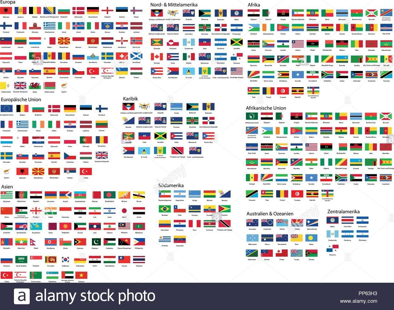 Diese Stock Vektorgrafik Herunterladen Alle Nationalen Flaggen Der Welt Mit Namen In Hoher Qualitat Pp63h3 Aus Der Alamy Bibli Flaggen Der Welt Flaggen Welt