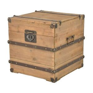 Brown-Antique-Rustic-Trunk-Box-Coffee-End-Bedside-Table-Storage-Chest