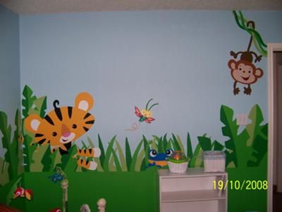 Rainforest Nursery Design Jungle Wall Mural With Monkeys Tigers And Tropical Scenery Everything You See Above In Our Baby S