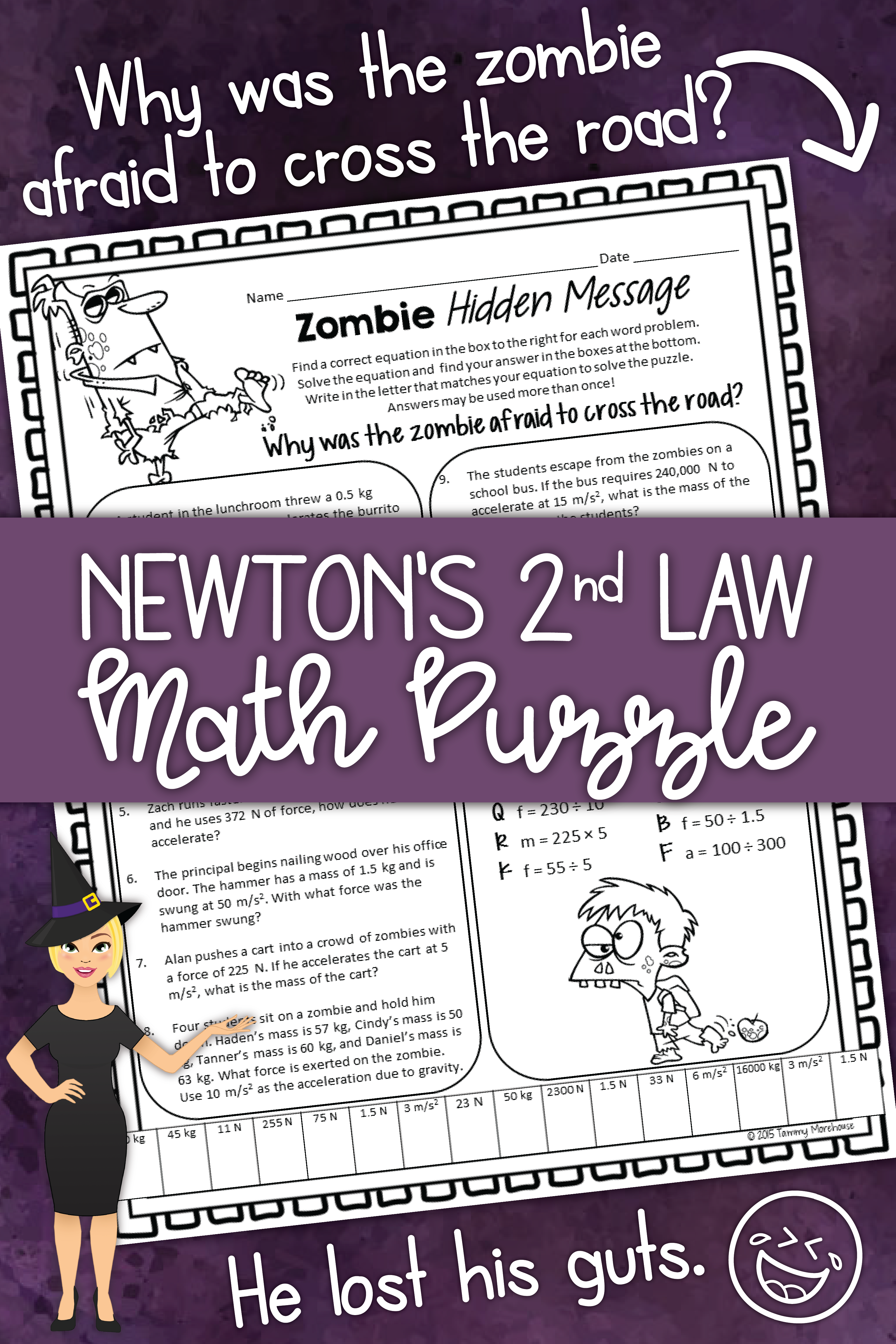 Newton S 2nd Law Force Mass Amp Acceleration Math Puzzle