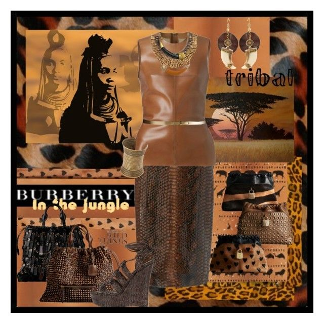 """""""Burberry: In The Jungle"""" by halebugg ❤ liked on Polyvore featuring Burberry, K. Amato, House of Harlow 1960, Stella & Dot, Blu Bijoux, wedge sandals, ankle tie sandals, snakeskin skirt, pencil skirt and metal belt"""