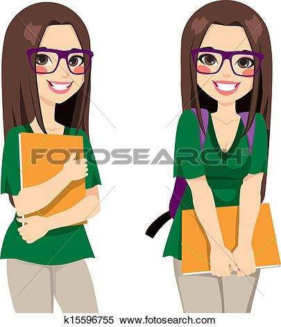 cute nerdy girl student clipart clip art and digital rh pinterest com girls student clipart png girl student thinking clipart