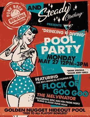 Punk Rock Bowling Poster Retro Design  Typography Y Design