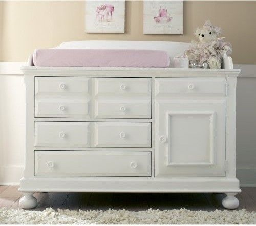 Creations Baby Summers Evening Combo Dresser In Rubbed White Traditional Changing Tables
