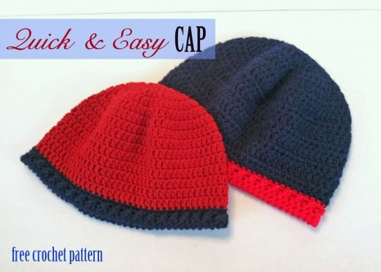 Free Crochet Pattern - Quick and Easy Cap | Crochet - Hats | Pinterest
