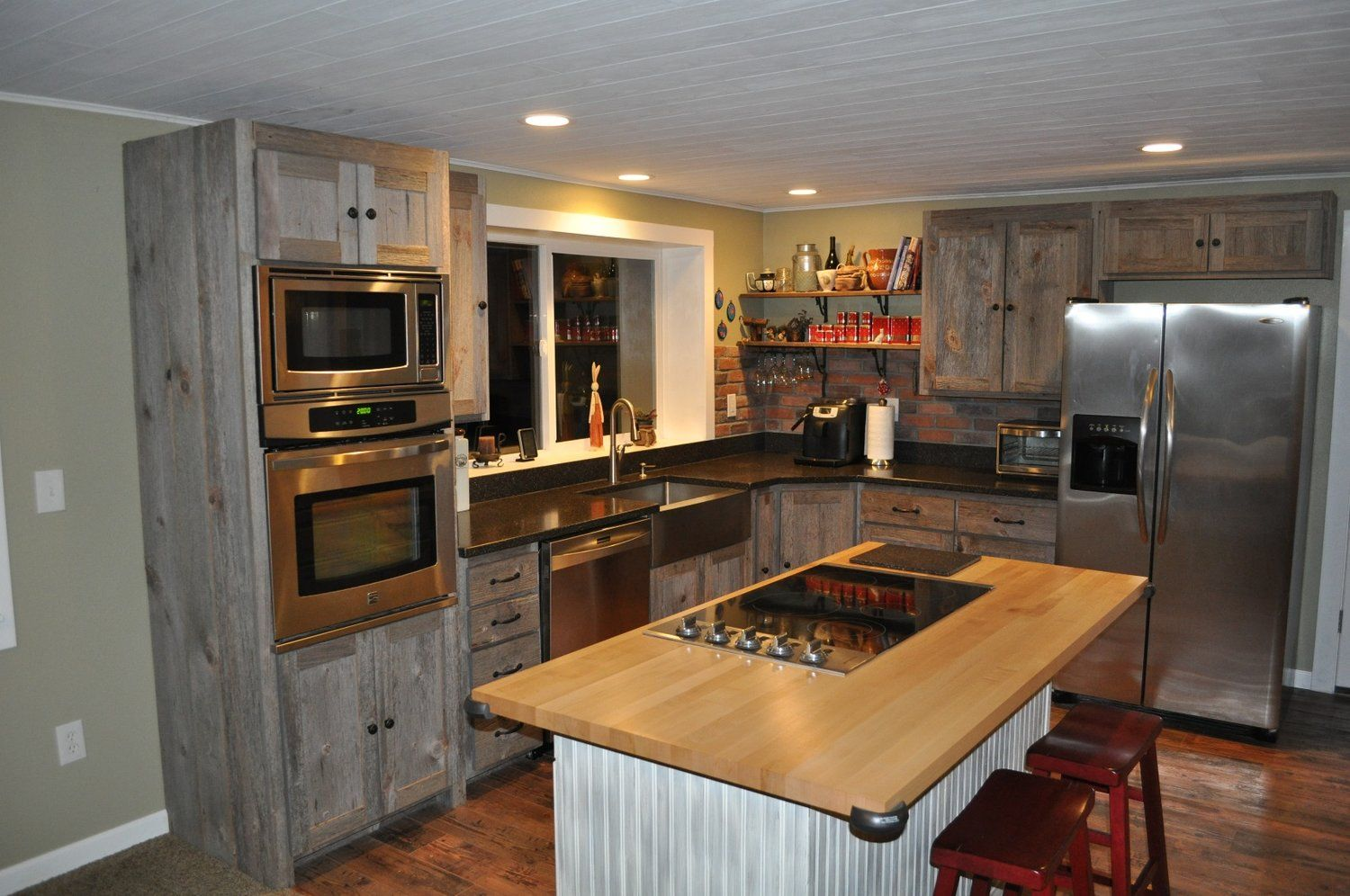 Weathered Gray Barn Wood Kitchen Barn Wood Furniture Rustic Barnwood And Log Furniture By In 2020 Kitchen Cabinets For Sale Rustic Kitchen Cabinets Rustic Kitchen