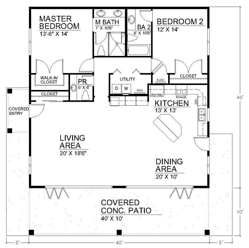 I like the open floor plan but it would need another for 40x40 house plans