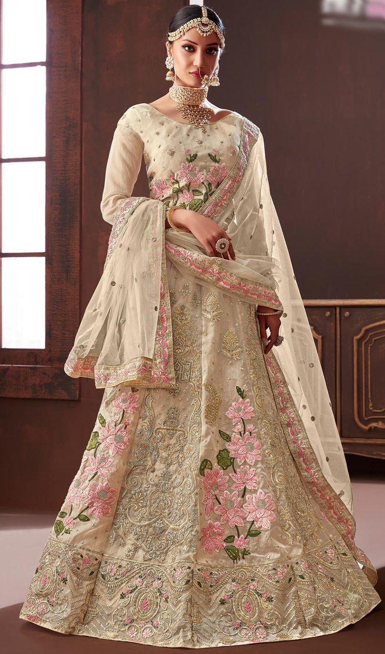 6d40b68aca3472 Embroidered Cream Color Silk Cholie Skirt in 2019   Indian Designer Bridal  Lehenga Cholis   Bridal lehenga choli, Designer bridal lehenga, Bridal  lehenga