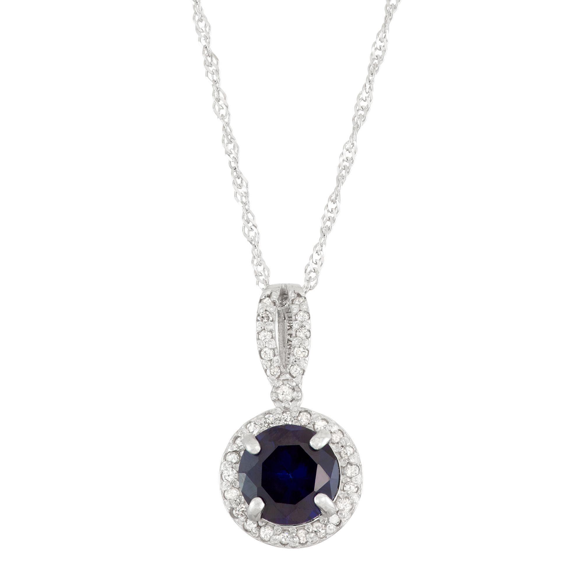 Gioelli 10k White Gold 1/6ct TDW Diamond and Lab Created Sapphire Pendant