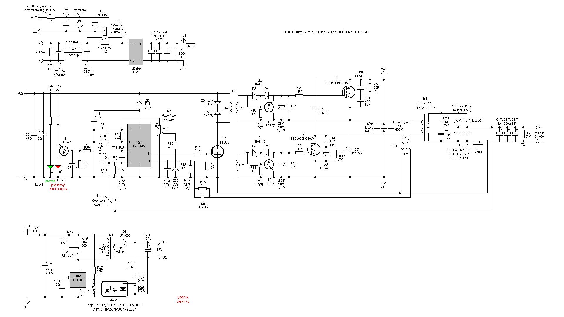 Импульсный источник питания (SMPS) 3-60V 40A   Электронные схемы ...