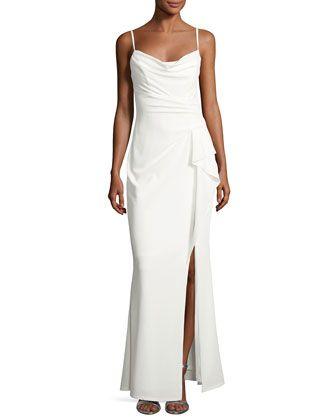 6d07e23cef0d Marina Pleated Side-Ruffle Long Dress | Fashion | Dresses, Formal ...