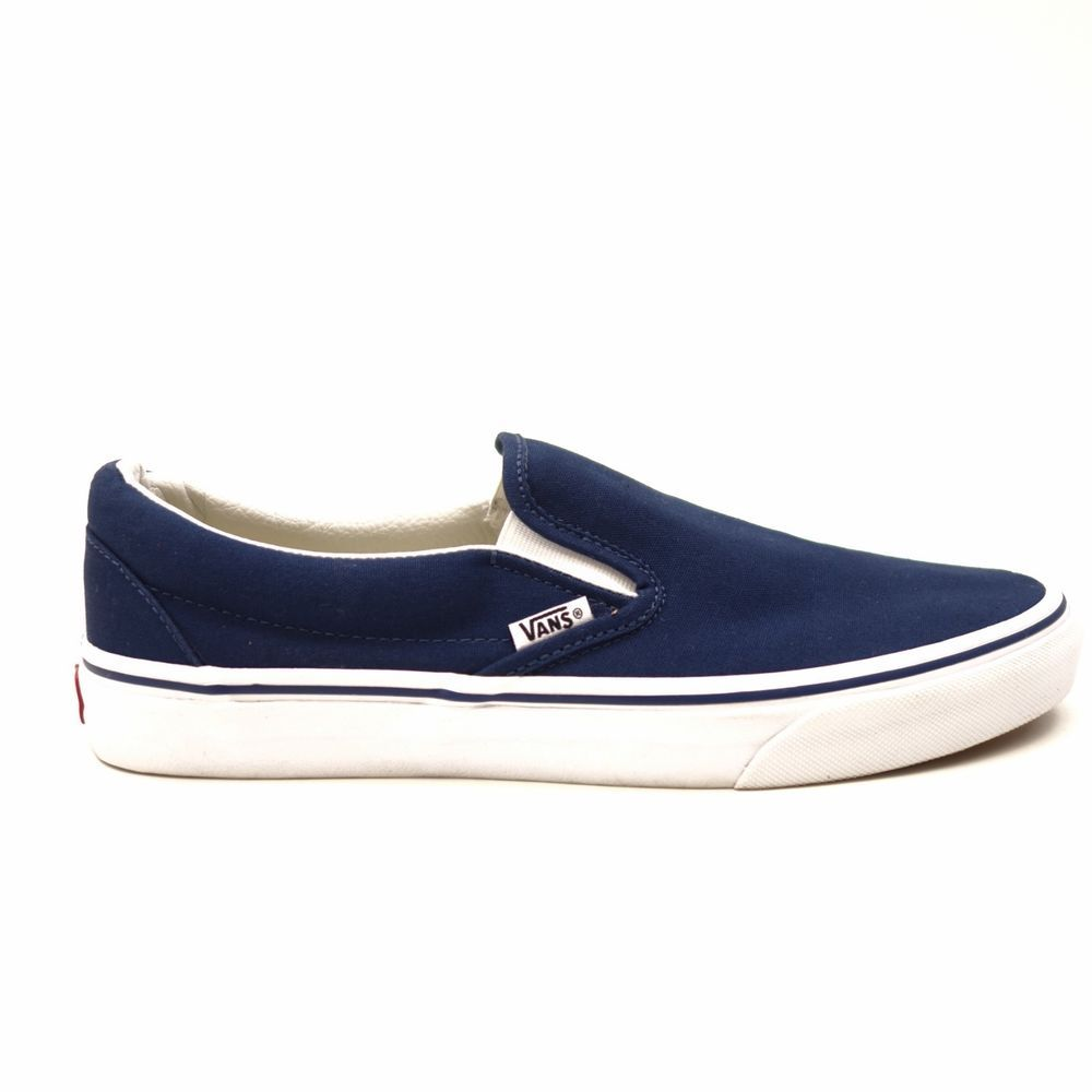 0aed6ce3766508 New Vans Mens Dark Navy Blue Classic Slip On Canvas Skater Shoes Size 10   VANS  SlipOn