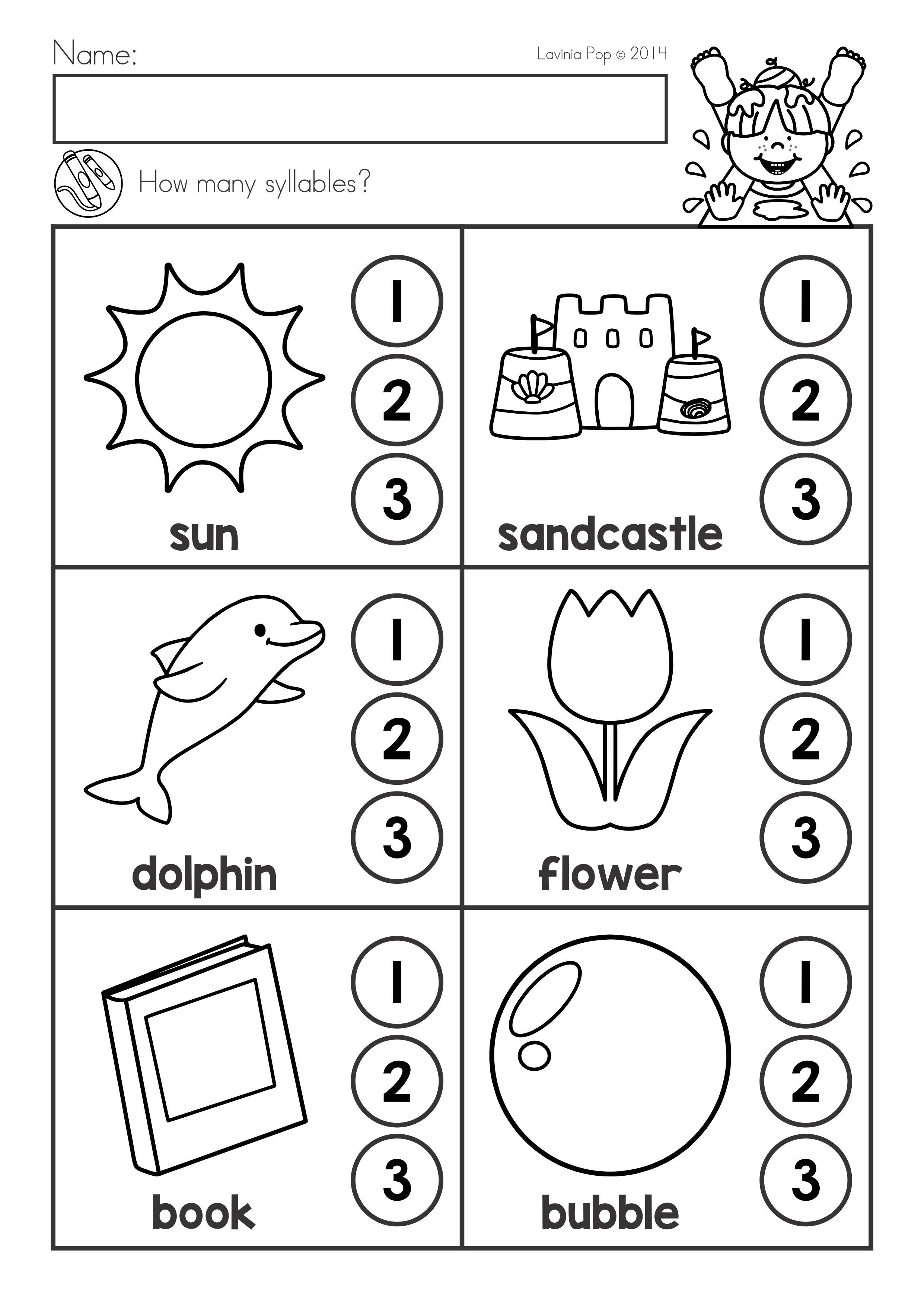 Summer Review Kindergarten Math Literacy Worksheets Activities Syllables Free Kindergarten Worksheets Syllable Worksheet Literacy Worksheets