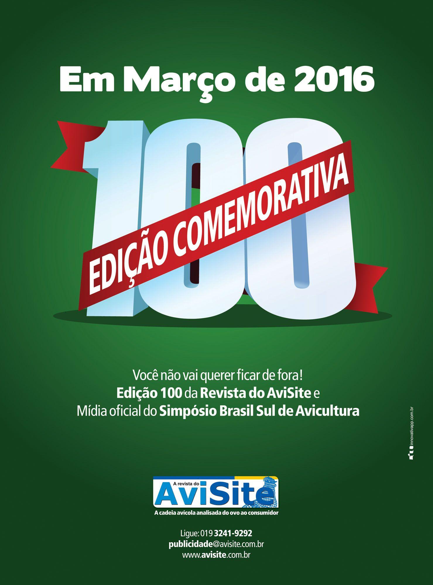 Anúncio de divulgação da edição 100 da Revista do AviSite
