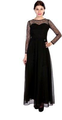77e4f84d06ef Hugo Chavez Women s Maxi Dress - Buy Black Hugo Chavez Women s Maxi Dress  Online at Best Prices in India
