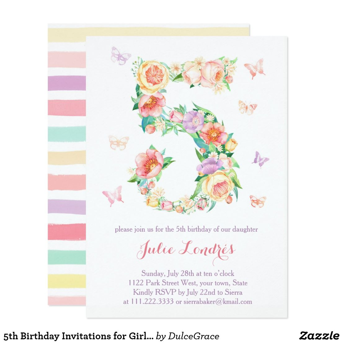 5th Birthday Invitations for Girl with Butterflies | Invitations ...