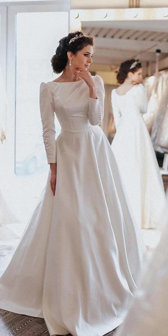 Simple Vintage Modest Long Sleeve Wedding Dress Gaun Pengantin Sederhana Gaun Perkawinan Gaun Pengantin Putih