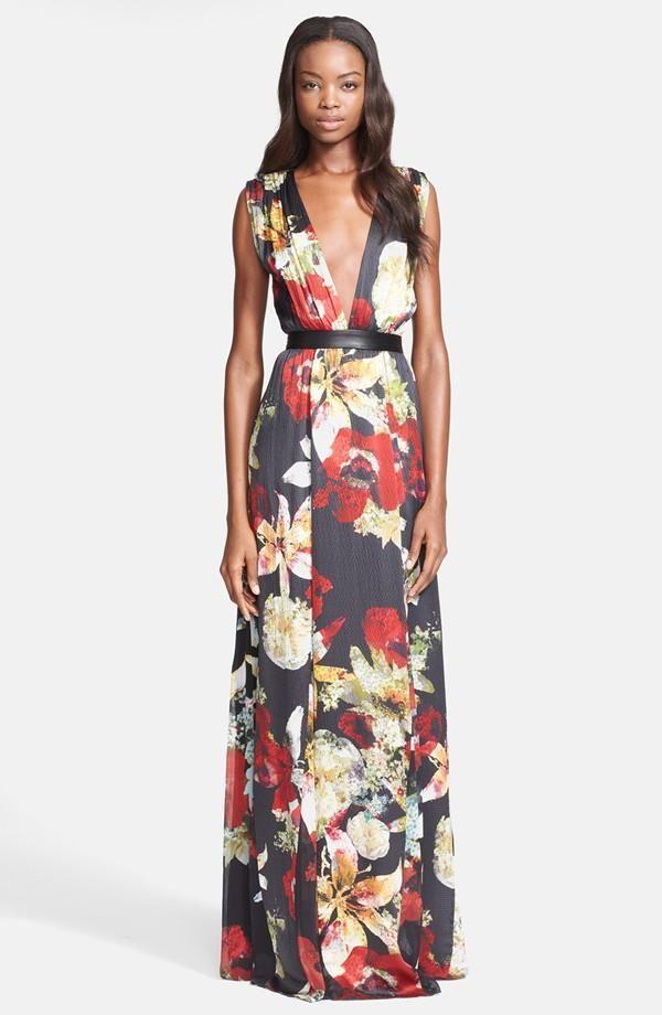 Olivia Triss Print Silk Maxi Dress In