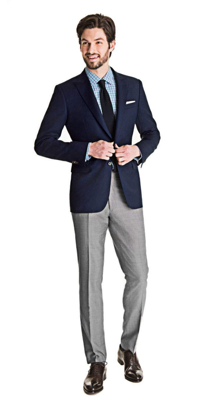 Get this blue subtle stripe blazer and light gray pants ...