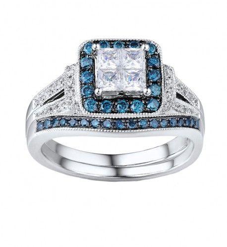 Vintage Princess Wedding Ring Set with blue diamond accents