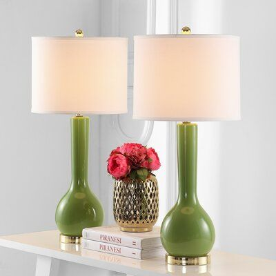 Joss Main Chemilly 30 5 Table Lamp Set In 2021 Green Table Lamp Table Lamp Lamp