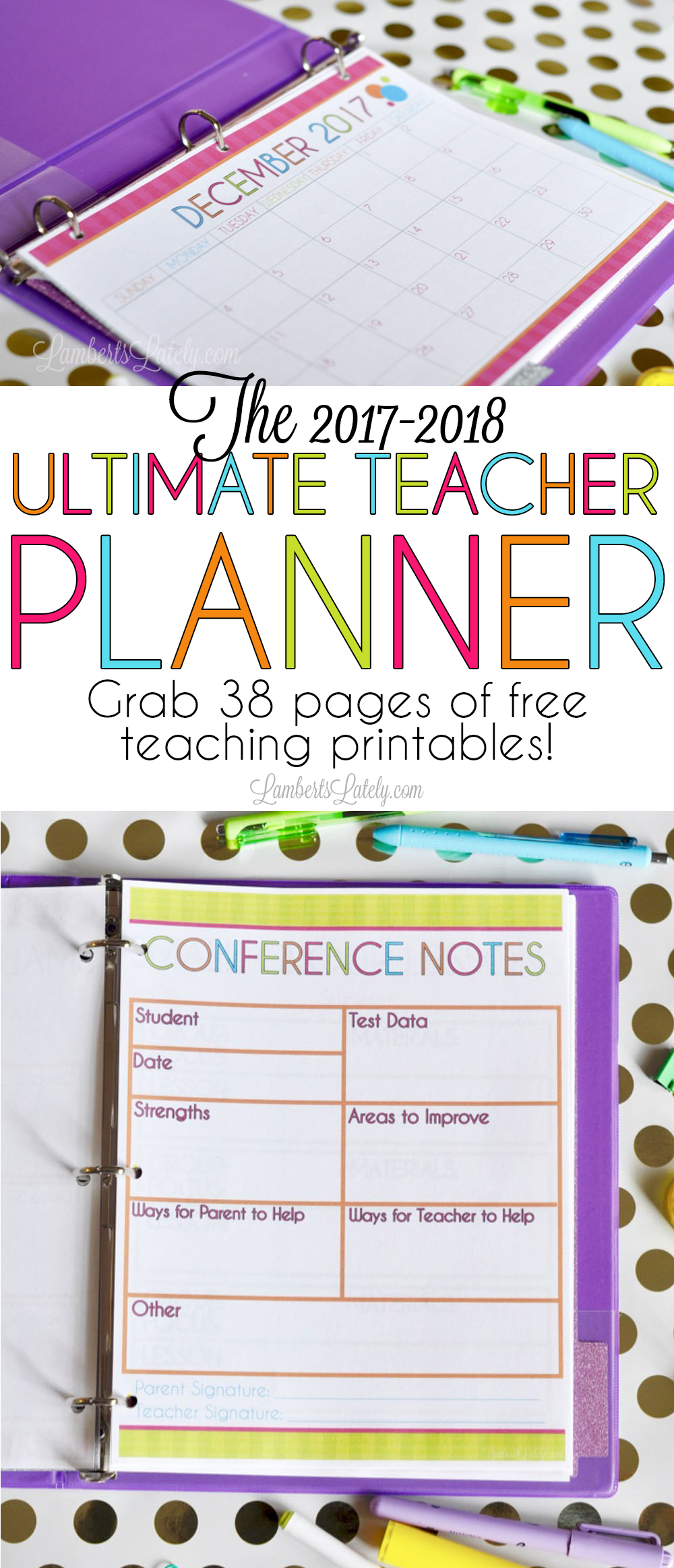 The 2017-2018 Ultimate Teacher Planner | Awesome Printables ...