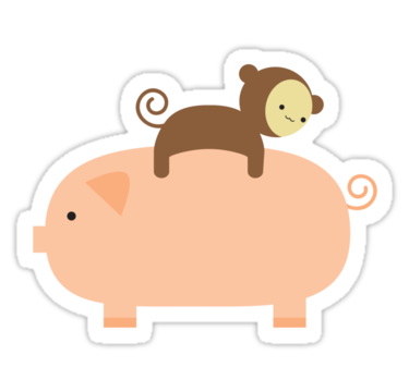 Baby monkey riding on a pig sticker by imaginarystory