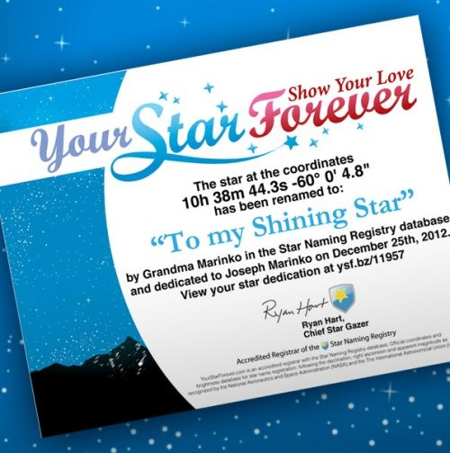 Personalized Star Dedication Certificate.