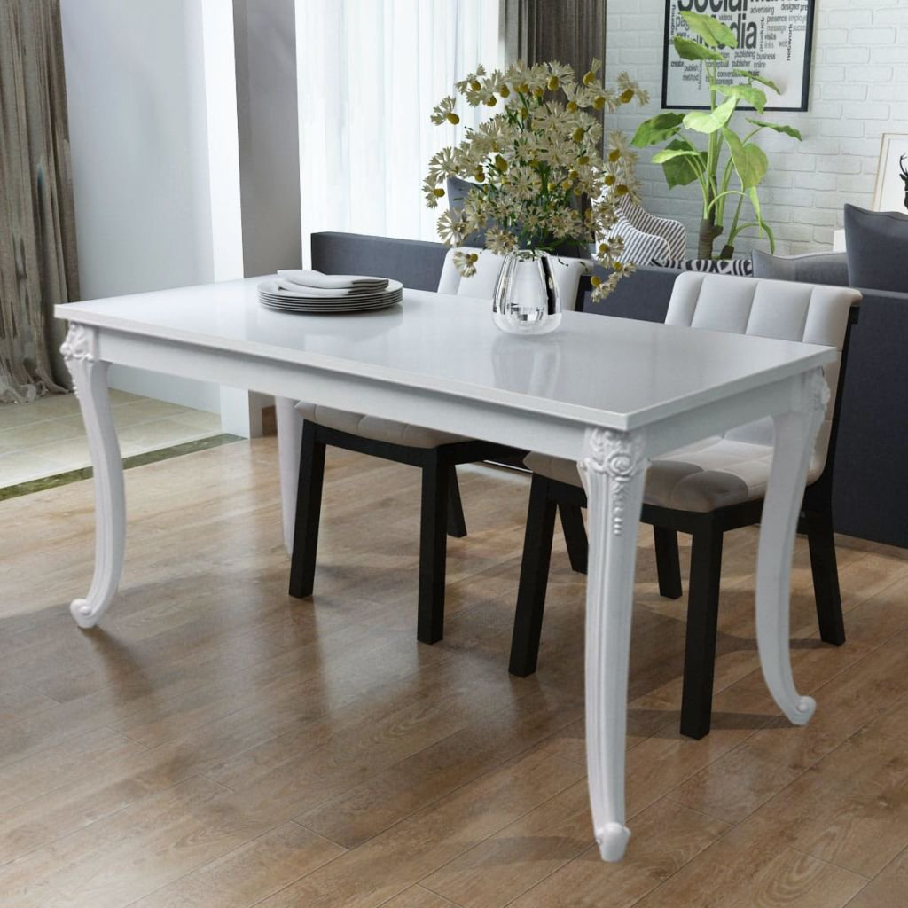 Save 50 French Curved Legs High Gloss White Dining Table Www