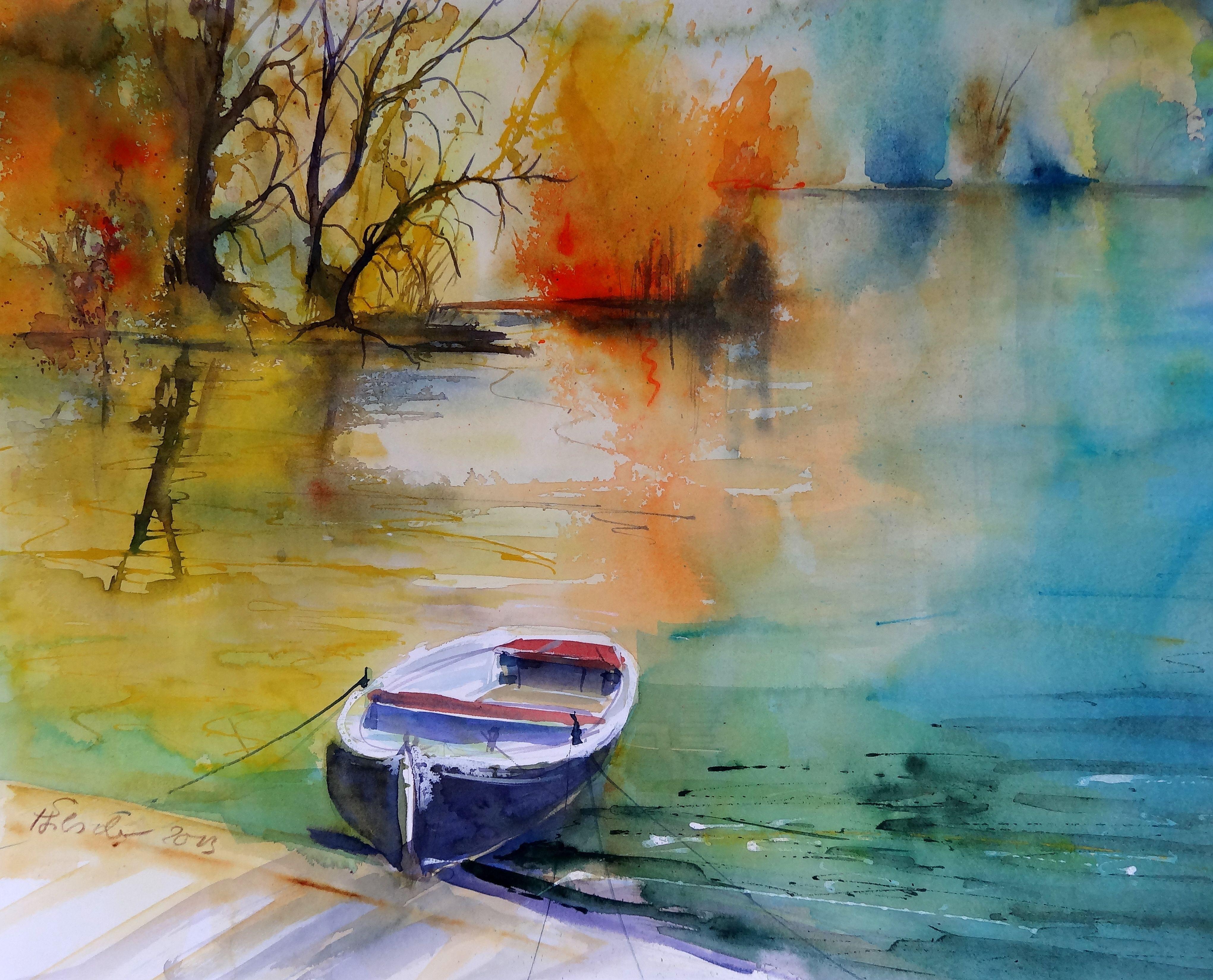 Ruhige Zeit Watercolor Sabine Hilscher Aquarelllmalerei