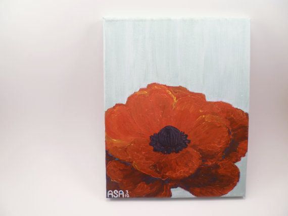 Intense Poppy Original Painting  8x10 Mounted Canvas  by #Sunsasa, $76. #NECTeam
