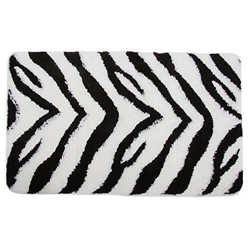 Zebra Print Bathroom Bath Mat Rug See Description Black White