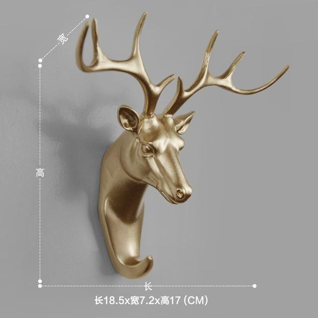 Wall Mounted Sculpture Hook Resin Animal Head Ornament Hanger Holder Home Decor