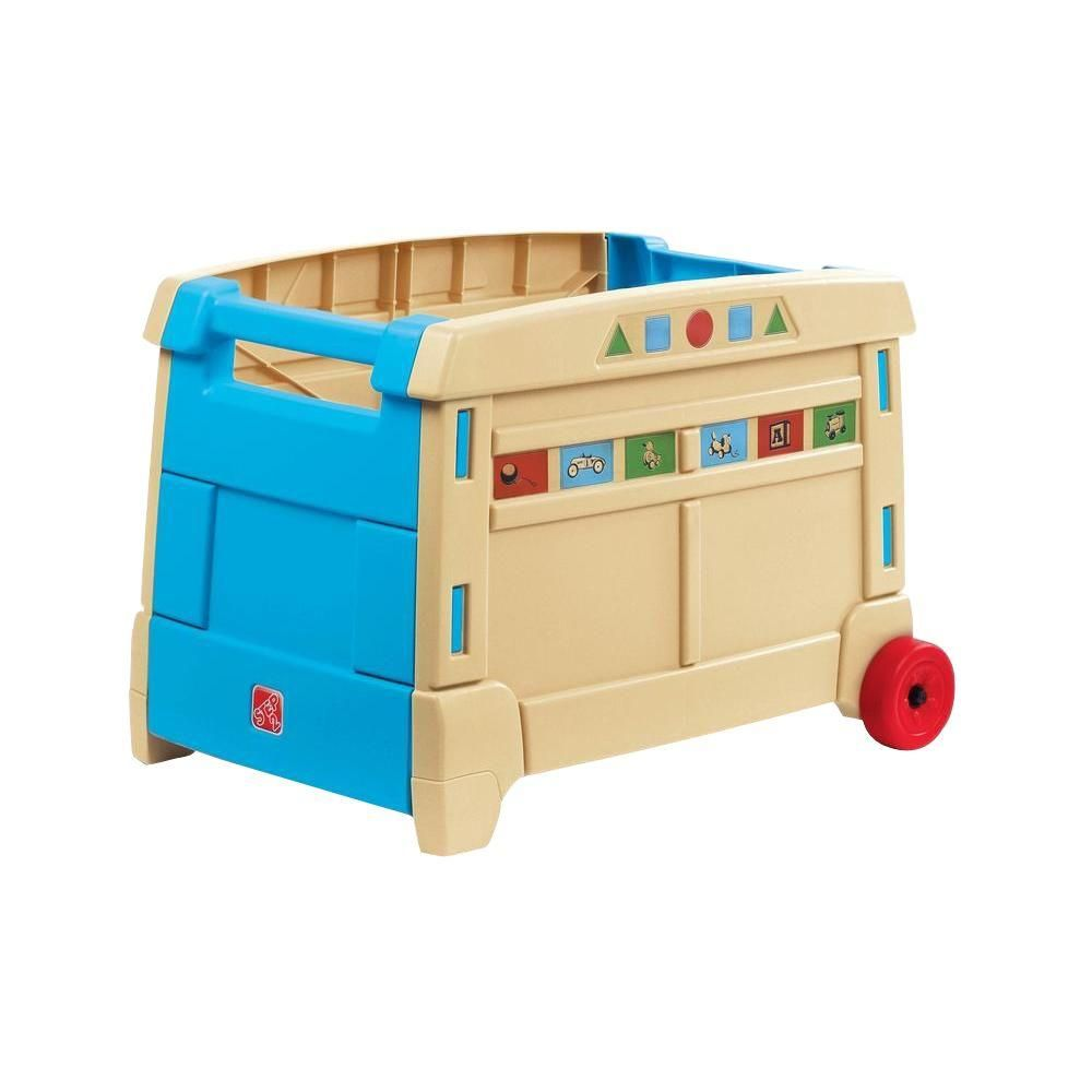 Step2 Blue And Tan Lift And Roll Toy Box 700400 Toy Storage Boxes Toy Boxes Kids Storage