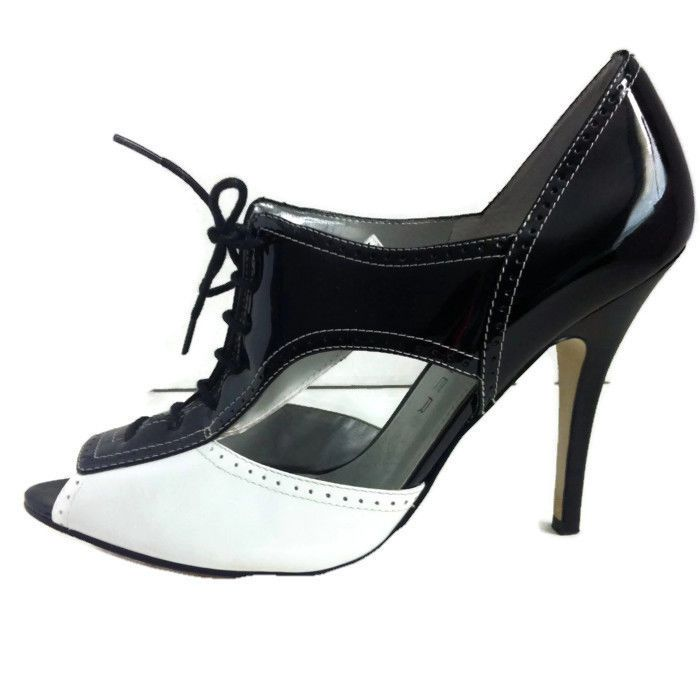 3ffb16a10051 Marc Fisher Mfardenly 8 M Open Toe Lace Up Heels Pumps Black White   MarcFisher  OpenToe