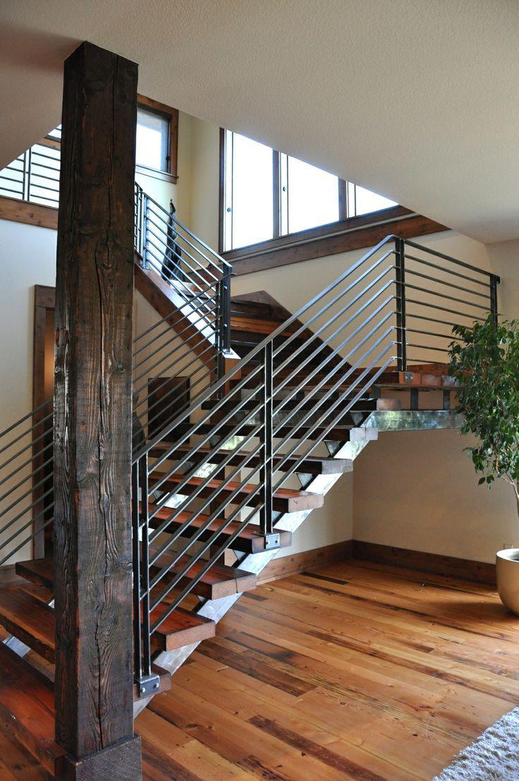 Industrial Stairs Modern Stair Railing, Staircase Railings, Staircase  Design, Stairways, Black Railing
