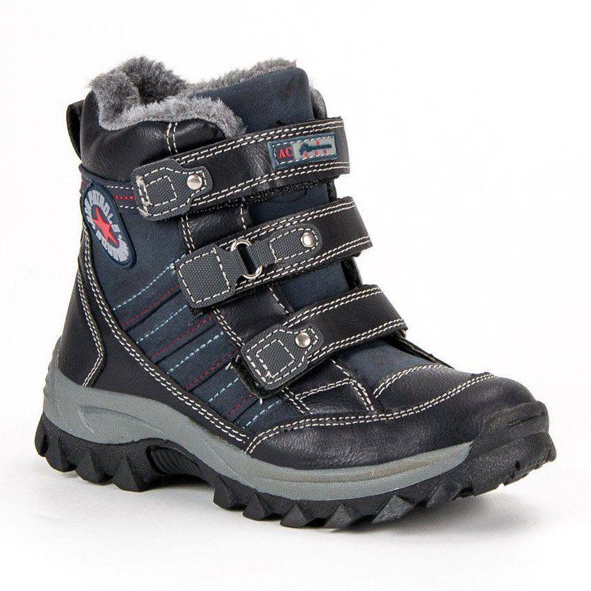 Kozaki Dla Dzieci Americanclub American Club Niebieskie Zimowe Obuwie Na Rzepy American Boots Shoes Hiking Boots