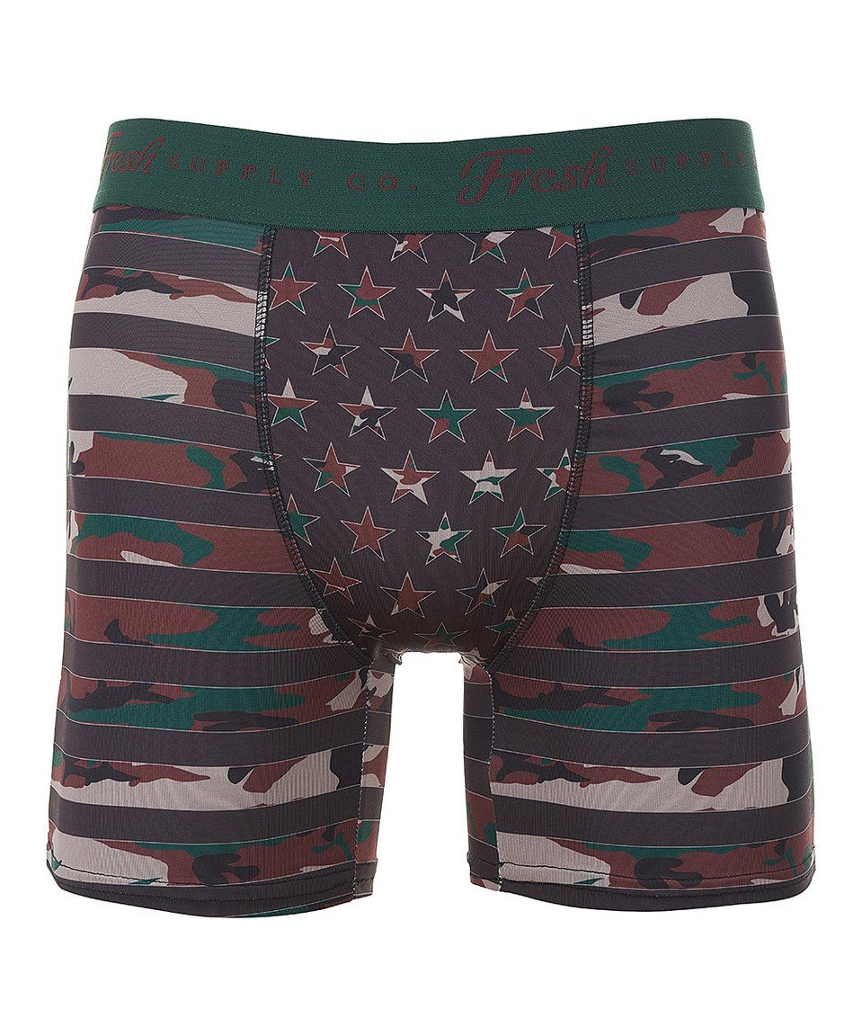 b12c071ef549 Take a look at this Green Camo Stars & Stripes Boxer Briefs - Men today!