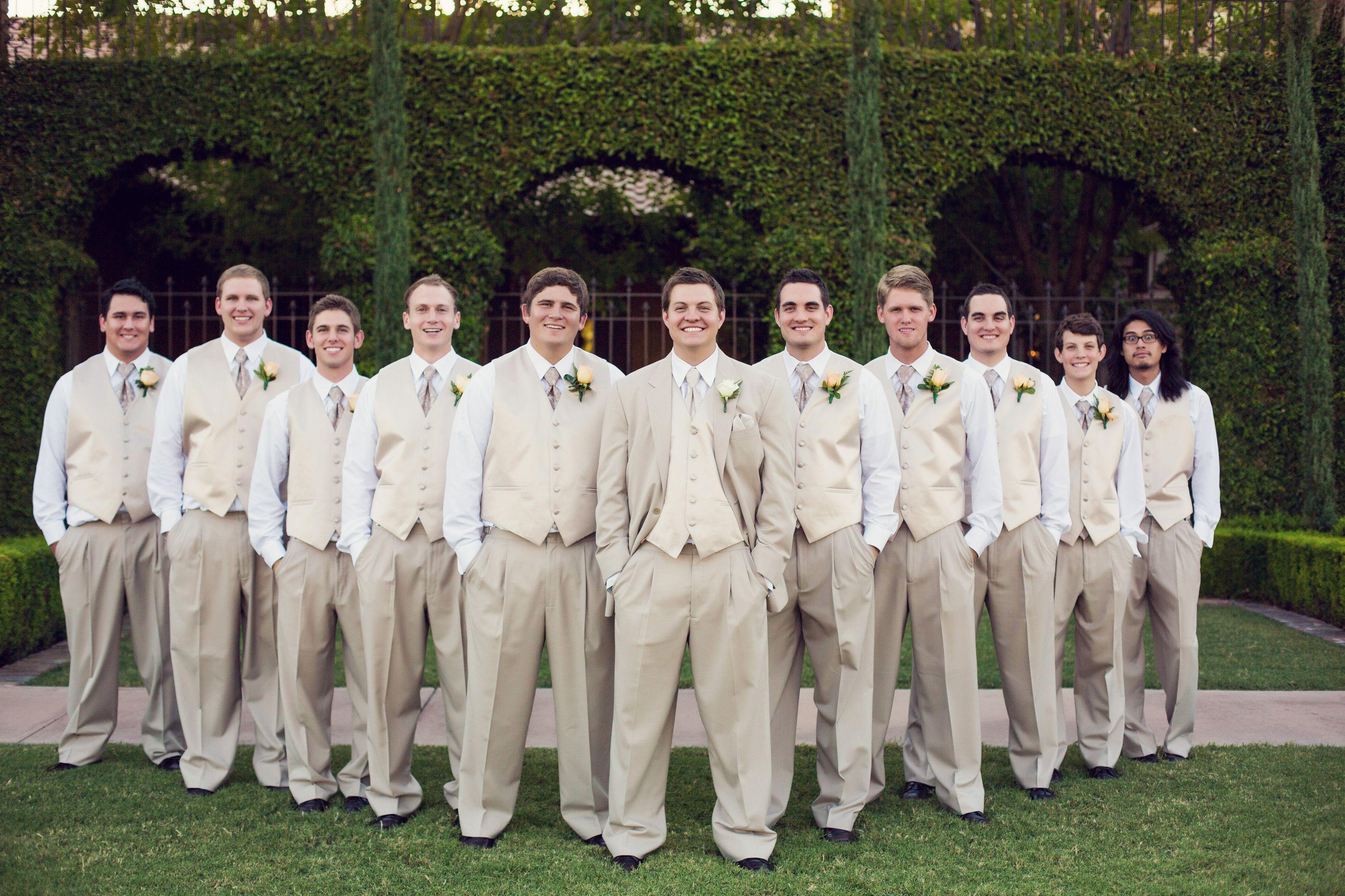 The groom and his groomsmen in khaki tuxedos | villasiena.cc ...