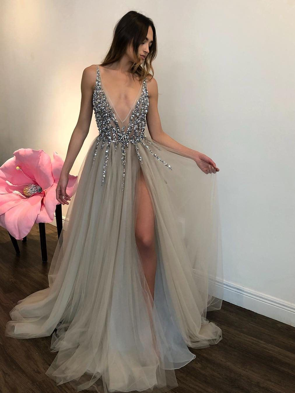 Long backless grey sexy prom dresses with slit rhinestone see