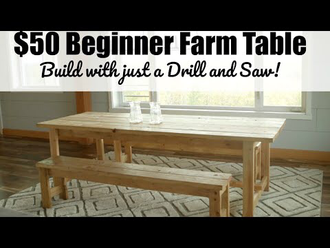 Beginner Farm Table (2 Tools + $50 Lumber) #anawhite