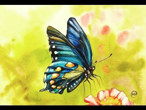 Watercolor Blue Butterfly Painting Demonstration