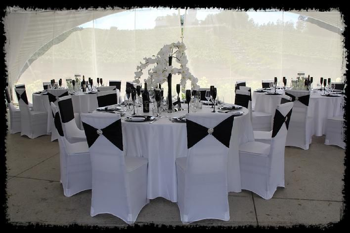 white and black wedding slick and chic spandex chair covers black flutes