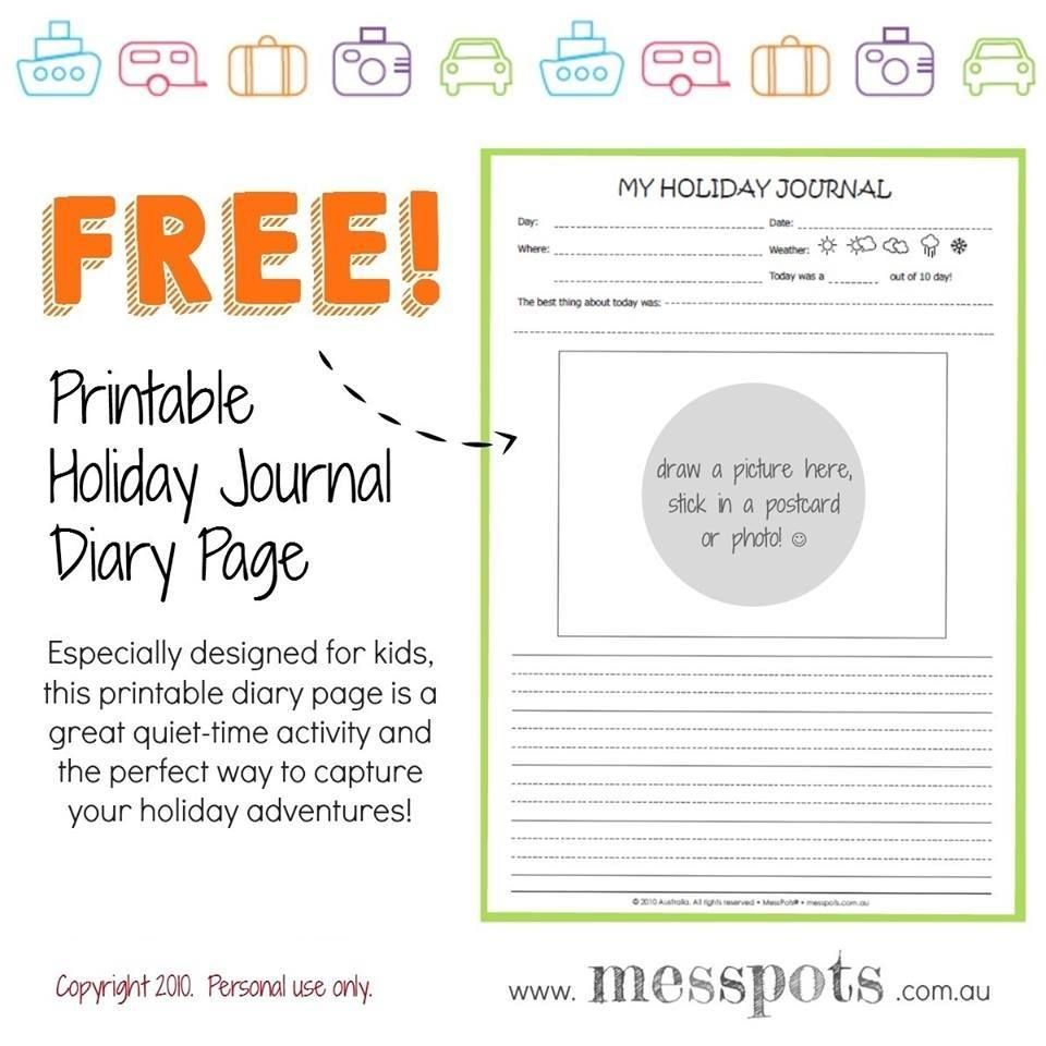 free printable kids holiday journal diary page travel log from messpots click - Kids Free Holiday