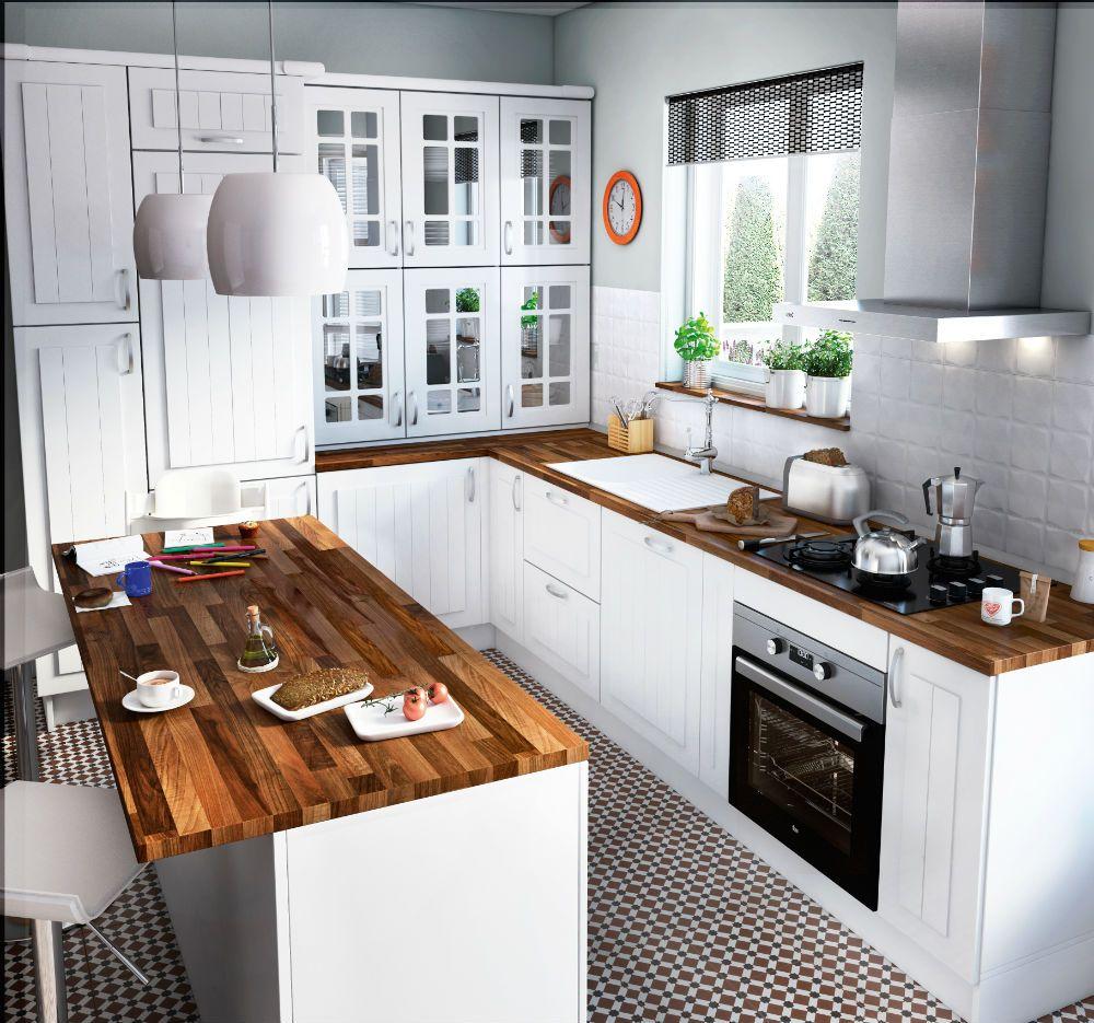 blanca y madera con mucho almacenaje | INTERIORES | Pinterest ...