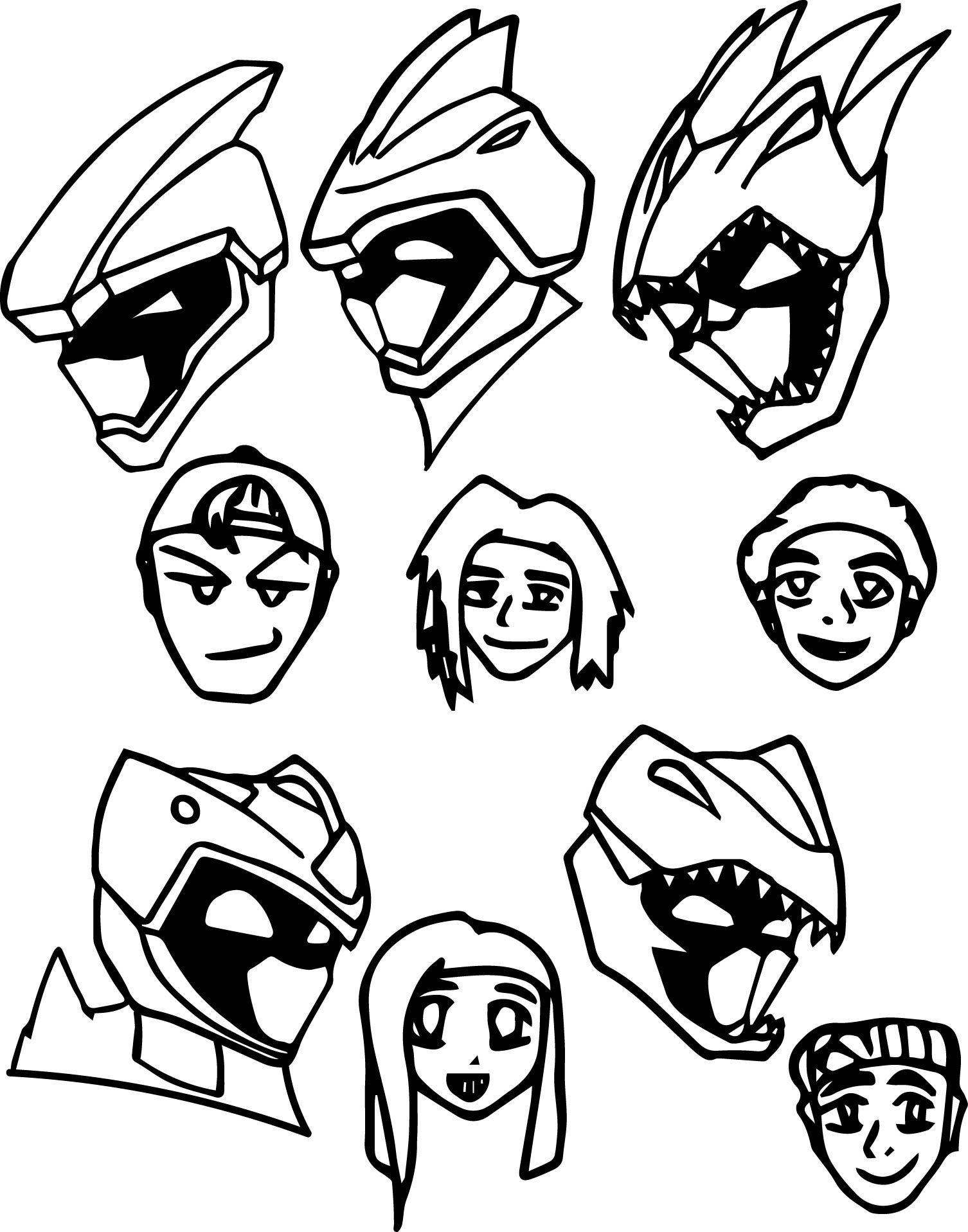 Awesome Magna Dino Power Rangers Charge Heads Coloring